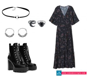 Look vestido largo discoteca mujer